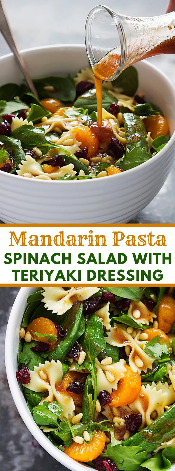 MANDARIN PASTA SPINACH SALAD WITH TERIYAKI DRESSING #vegetarian #healthy