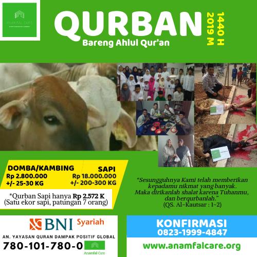 Qurban Bareng Ahlul Quran (1440 H - 2019 M)