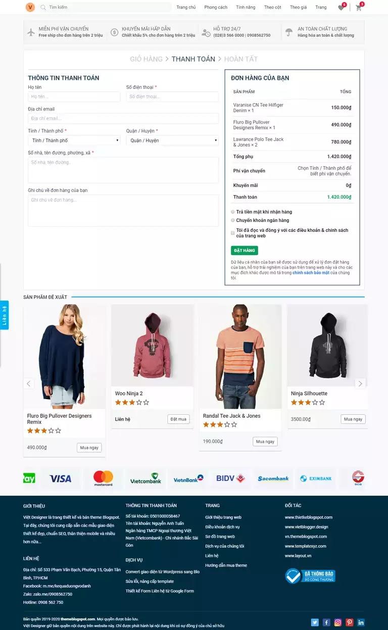 Trang đặt hàng sản phẩm giao diện website bán hang blogspot