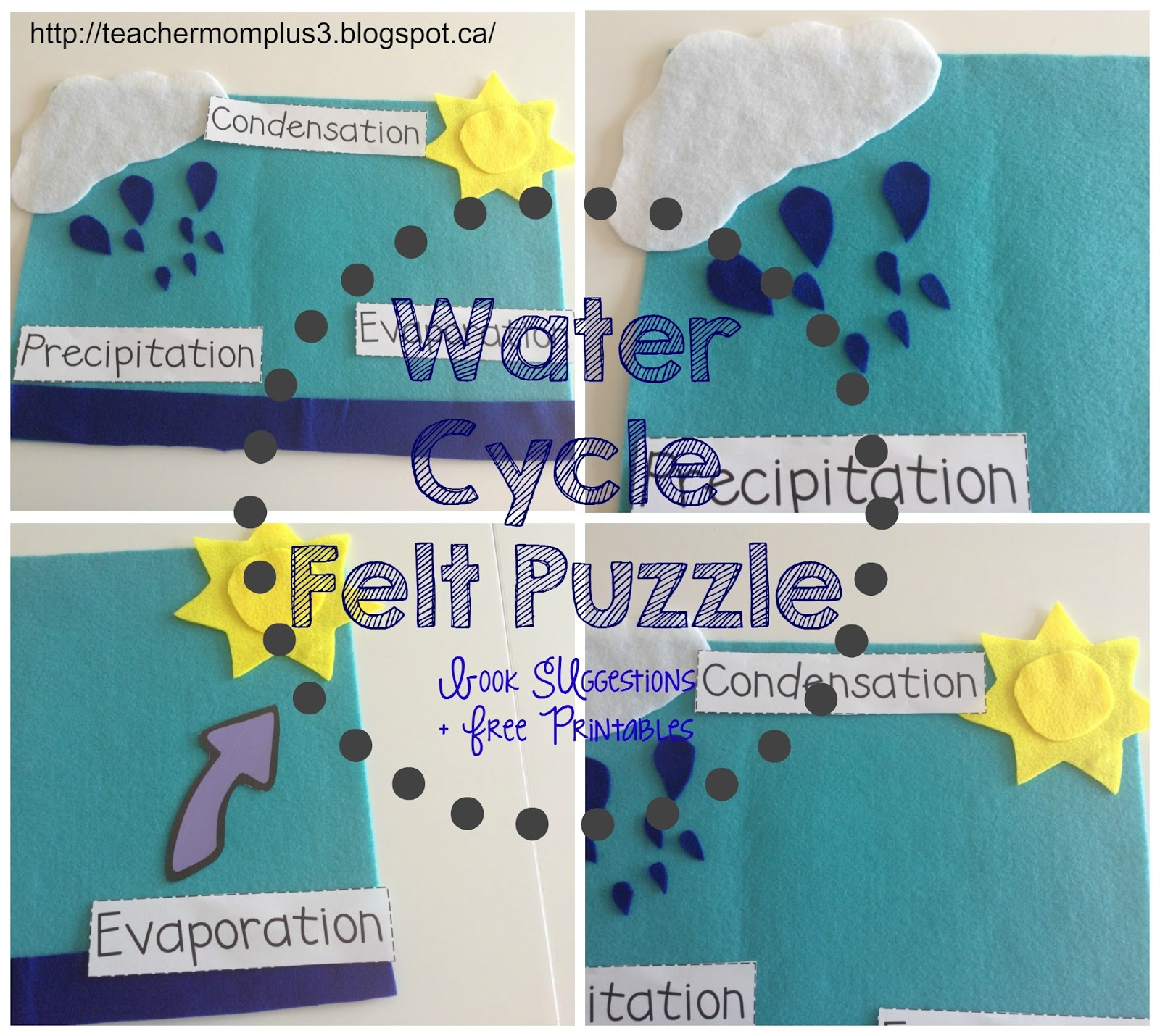 Teachermomplus3 Water Cycle Felt Puzzle Plus Book