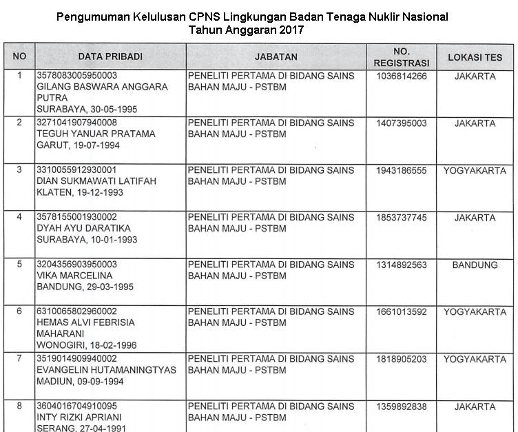 Lowongan Kerja  Pengumuman Kelulusan CPNS Lingkungan Badan Tenaga Nuklir Nasional  Anggaran 2017  Agustus 2018