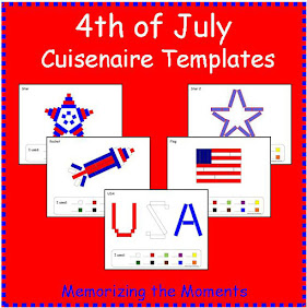 Patriotic templates for using Cuisenaire Rods