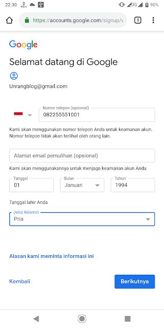 cara daftar akun google lewat android
