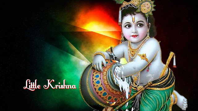 Lord Krishna Baby HD Wallpaper In Black Background