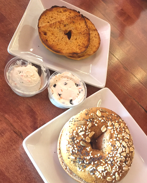 Fresh bagels with intriguing cream cheeses at Bagels and More in Beloit, Wisconsin.