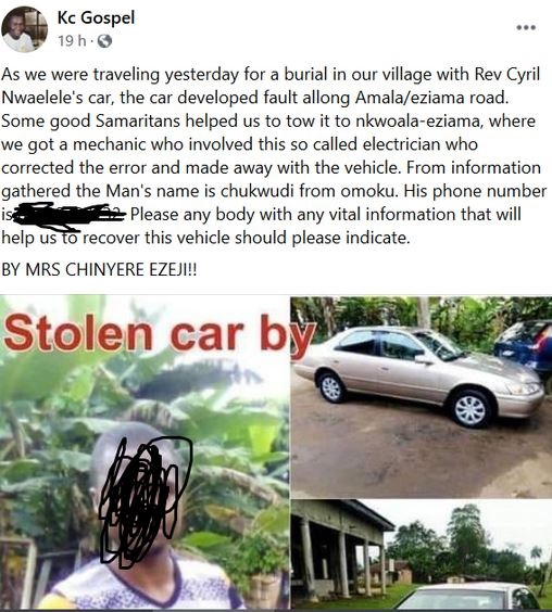 Shock As Roadside Mechanic Reportedly 'Flees' With Customer's Car In Imo State