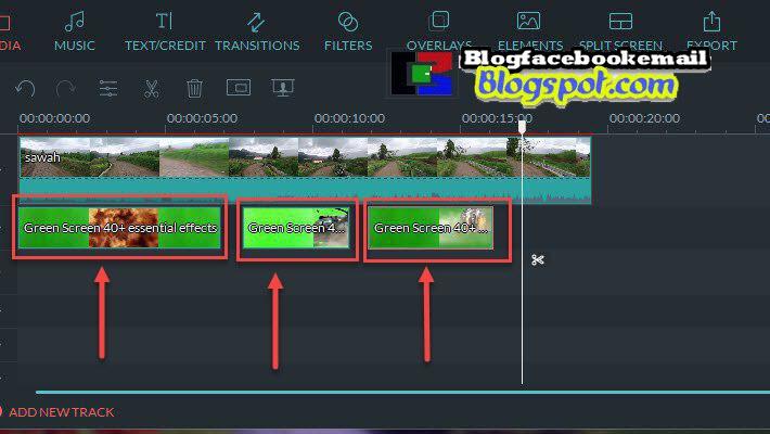 mengatur letak greenscreen di timeline filmora
