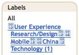 a single label of User Experience Research/Design Mobile China Technology with some fancy boxes of numbers tacked on for good measure