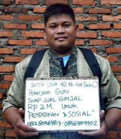 Guru SMP Pasang Iklan Jual Ginjal Rp 2 M di Facebook