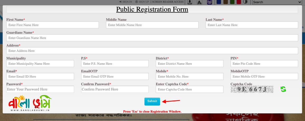 BanglarBhumi User Registration Online - Step 2