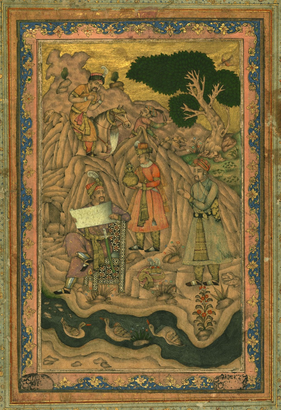Mughal Emperor with a Docuemnt - Mughal Painting, circa 18th or 19th Century