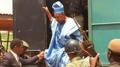 Abiola coming out of Black Maria at his arrest: june12