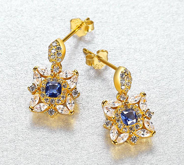 宮廷風金碧人造寶石 925純銀耳環