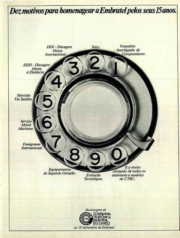 Anúncio da Companhia Telefônica da Borda do Campo em homenagem aos 15 anos da Embratel, em 1980