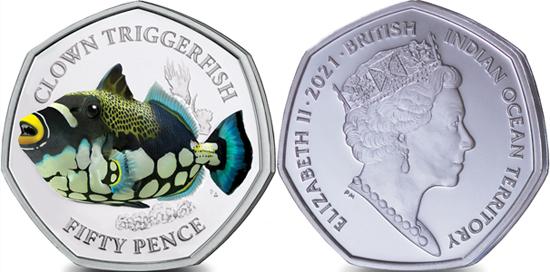 British Indian Ocean Territory 50 pence 2021 - Clown Triggerfish