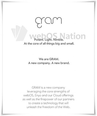 webOS division into a new company called Gram