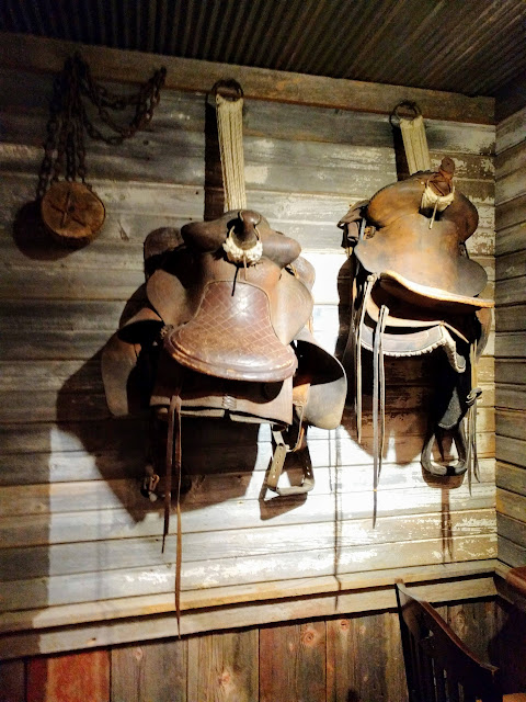 Saddles inside Saltgrass Steakhouse in Austin, Texas