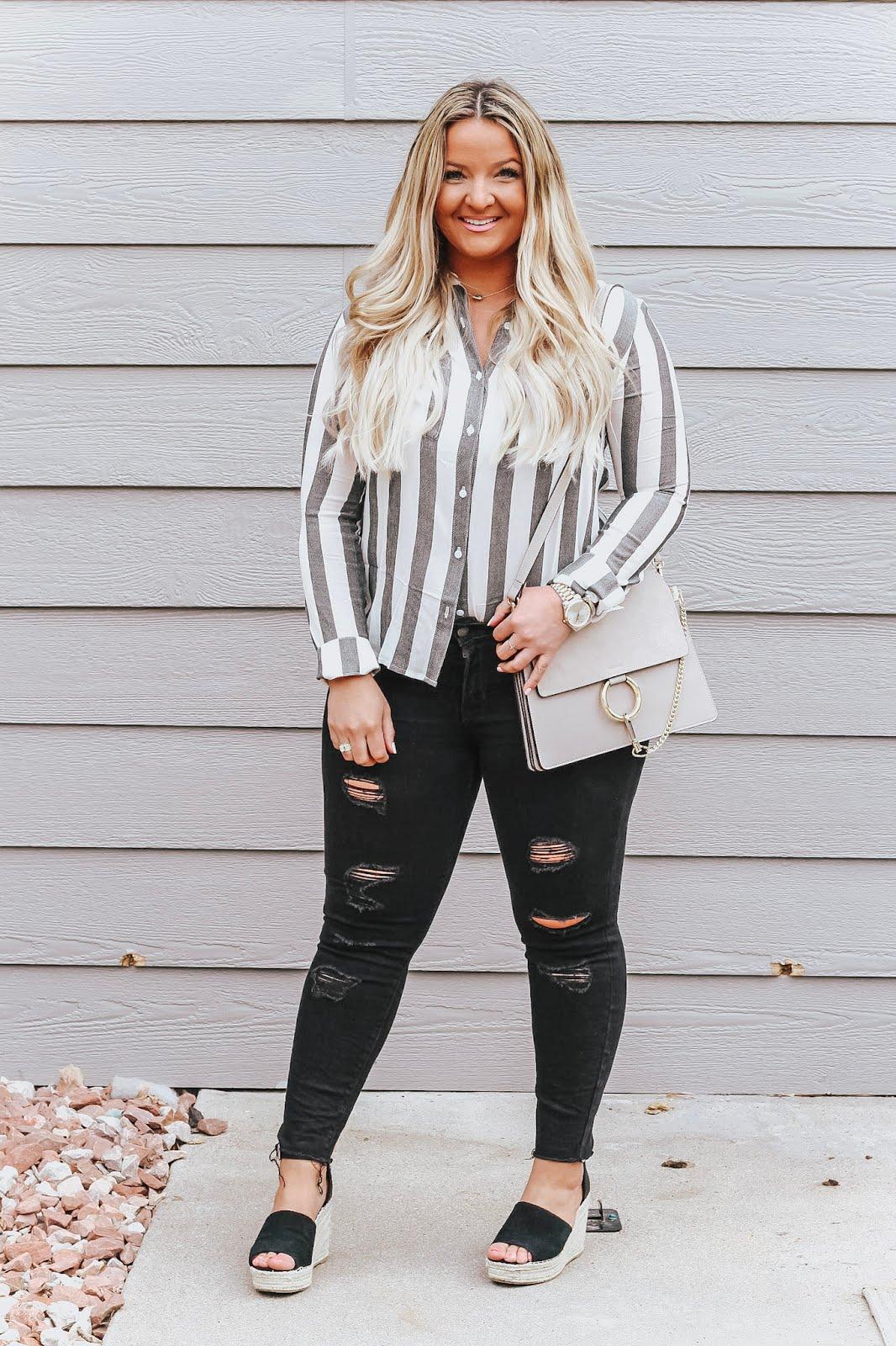 Wearing a Striped Outfit like Waldo styled by popular Denver fashion blogger, Delayna Denaye