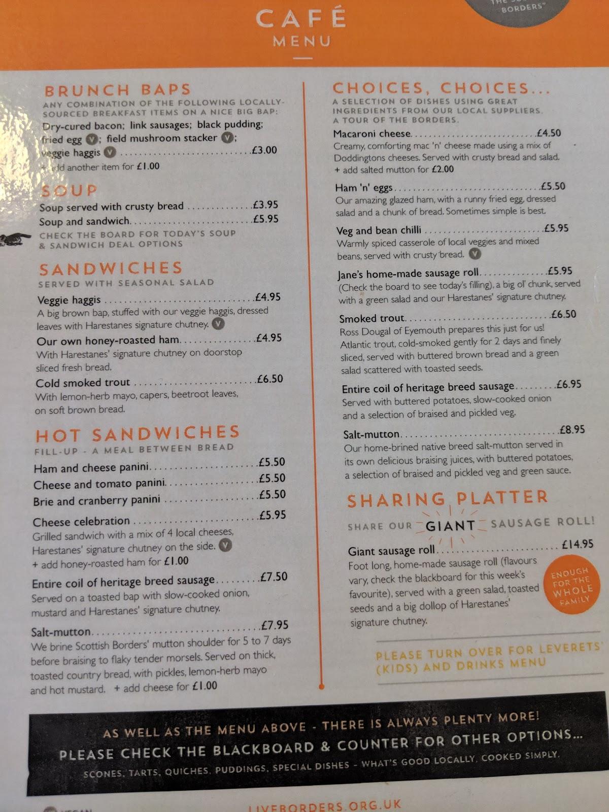 Harestanes Park, Jedburgh  - cafe menu