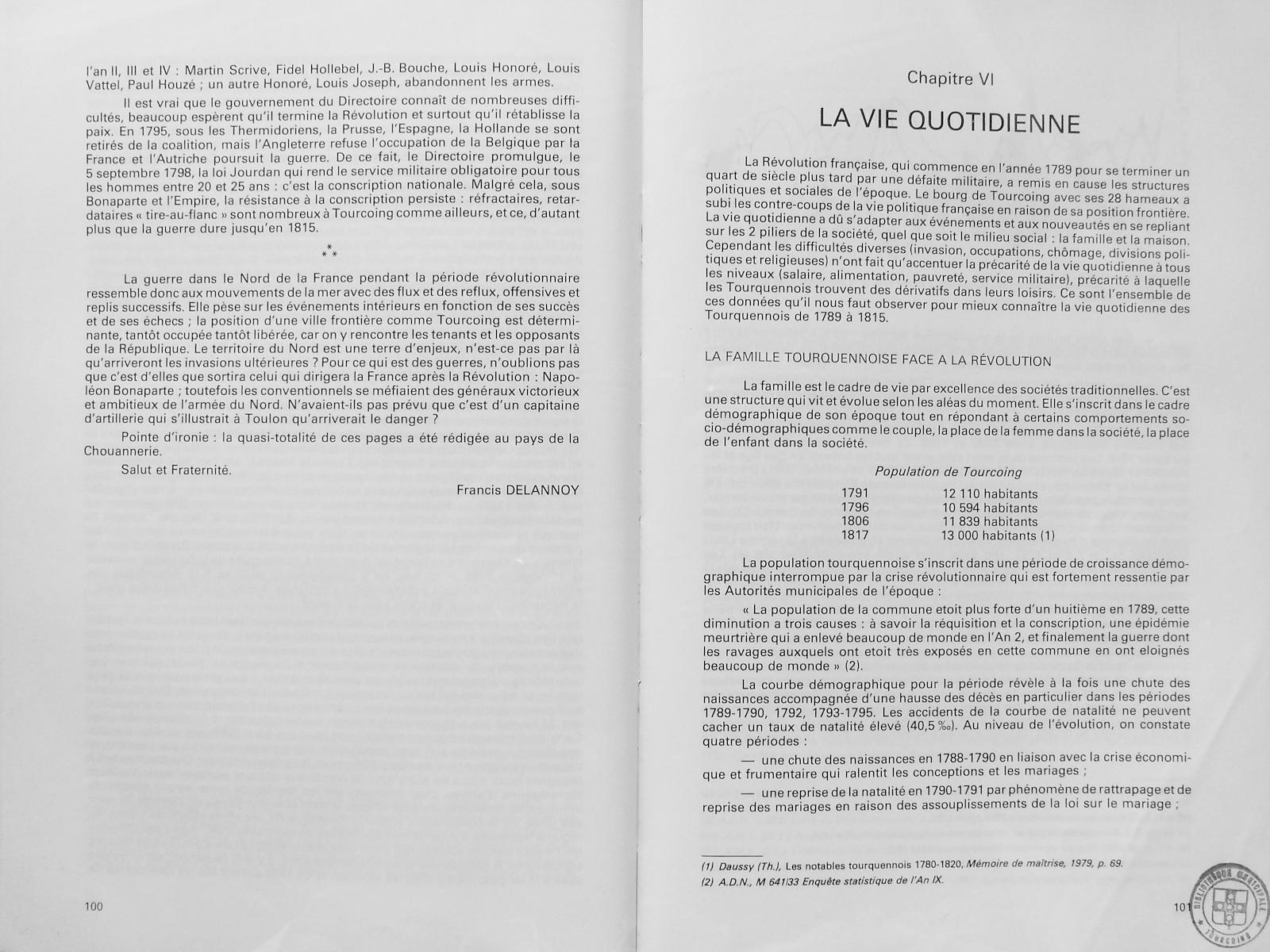 Chroniques tourquennoises, tome 5, pages 100 et 101