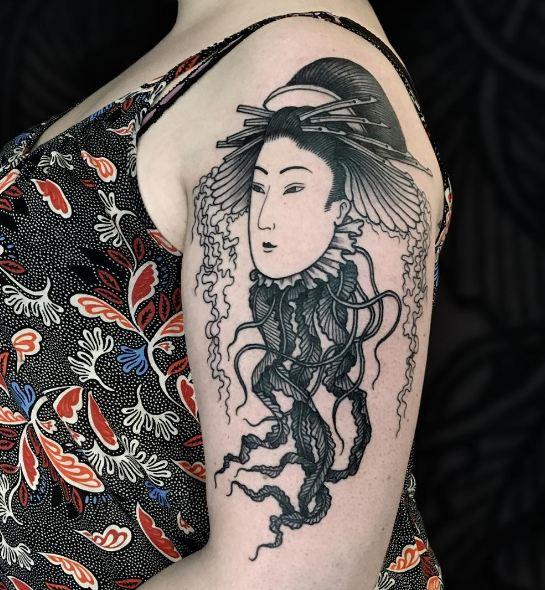50 beautiful japanese geisha tattoos ideas 2018 tattoosboygirl. Black Bedroom Furniture Sets. Home Design Ideas