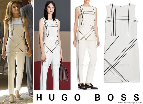 Queen Letizia wore Hugo Boss Iamma Plaid Top