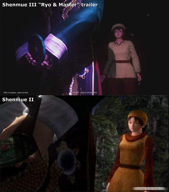 "Comparison with Lan Di and Shenhua in the ""bad ending"" cut scene from Shenmue II"