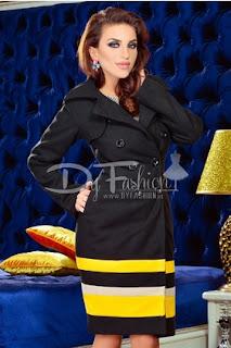 Palton dama cu imprimeuri colorate, de iarna, pana la genunchi