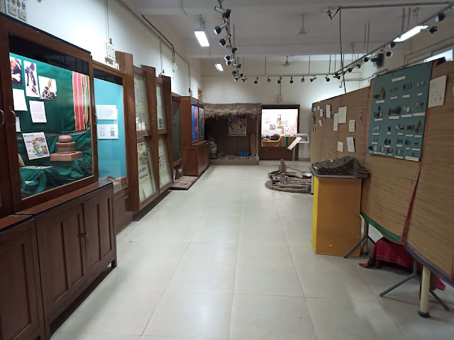 View of Indus Valley civilisation archaeological museum gallery with displays and models at MS University Baroda