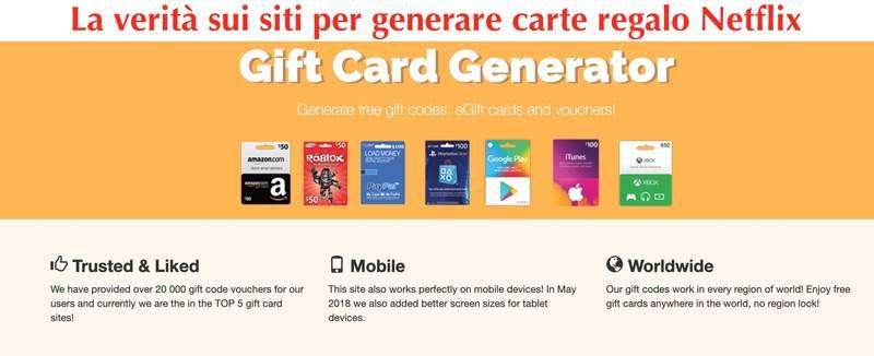 generatore gratis di carte regalo netflix
