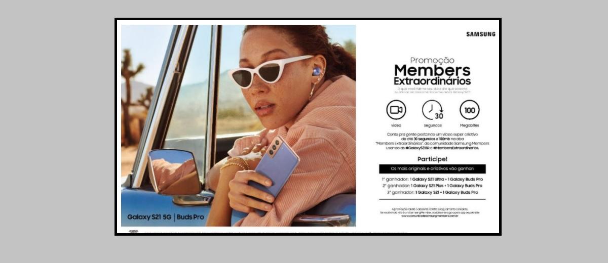 Participar Promoção Samsung 2021 Concorra à Galaxy S21 e Galaxy Buds Pro - Members Extraordinários