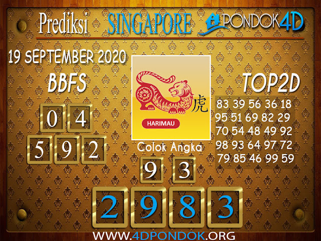 Prediksi Togel SINGAPORE PONDOK4D 20 SEPTEMBER 2020