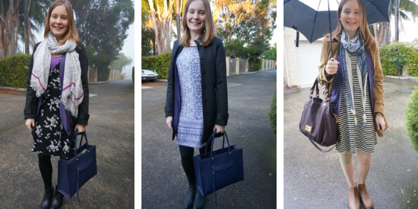 3 outfit ideas layering under jackets with purple cardigan hint of colour awayfromtheblue