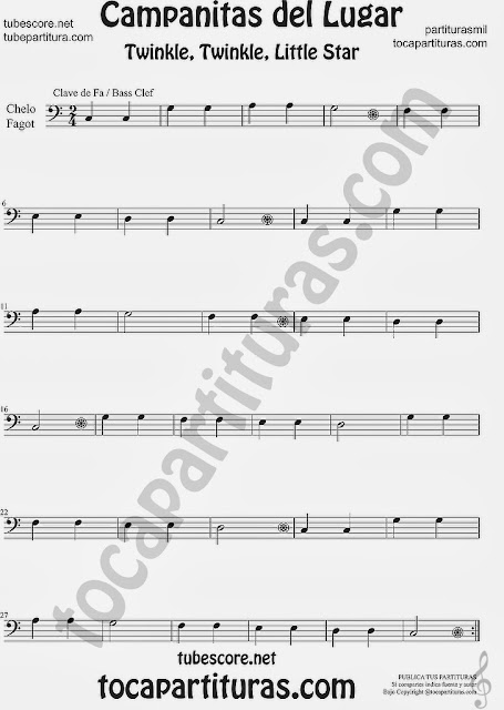 Partitura de Campanitas del Lugar para Violonchelo y Fagot Villancico Christmas Carol Song Twinkle twinkle little Sheet Music for Cello and Bassoon Music Scores
