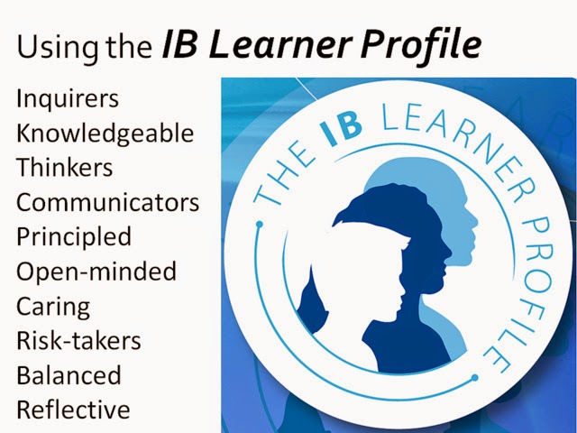 Image of IB Learner Profile. Inquirers, Knowledgeable, Thinkers, Communicators, Principled, Open-minded, Caring, Risk-takers, Balanced, Reflective.