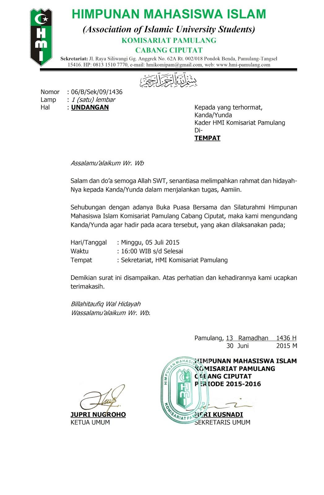 Contoh Format Surat Hmi