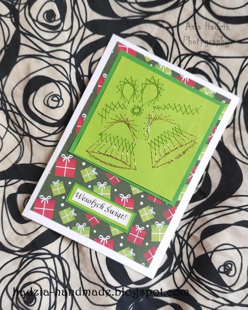 740. Kartka bożonarodzeniowa z zielonymi dzwonkami