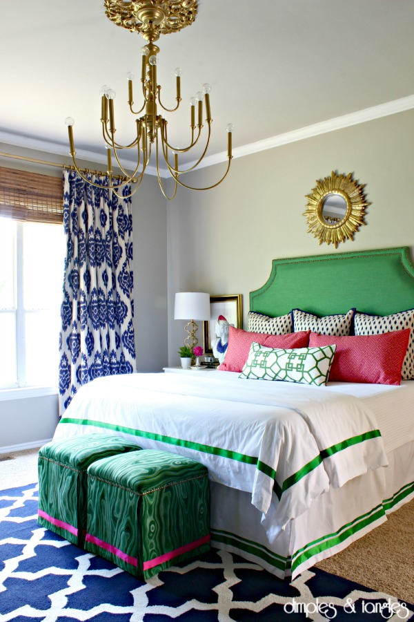 Sherwin Williams Amazing Gray, Master Bedroom, Brass Chandelier, Sunburst Mirror, Kelly Green Upholstered Headboard, Duralee Kalah Fabric, Malakos fabric, RugsUSA Trellis rug