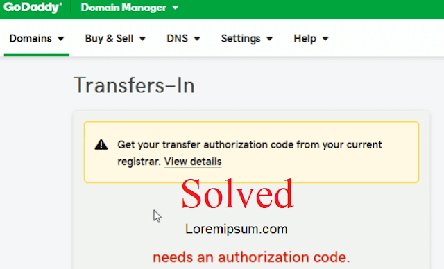 godaddy needs an authorization code solved