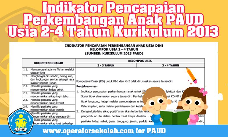 Indikator Pencapaian Perkembangan Anak PAUD Usia 2-4 Tahun Kurikulum 2013