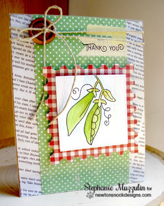 Thank You Pea Pod card by Stephanie Muzzulin | Vegetable Garden stamp set by Newton's Nook Designs #newtonsnook