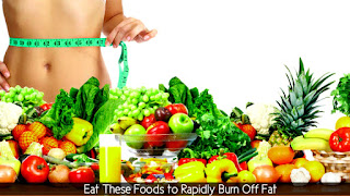 Woman surrounded by foods to rapidly burn off fat