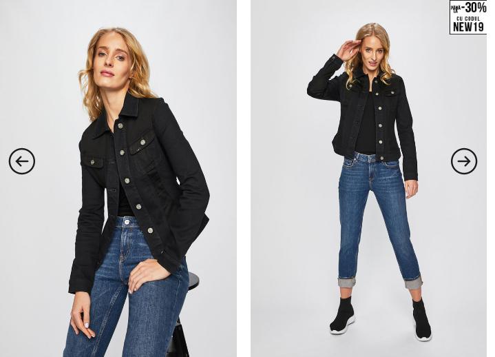 Lee - Geaca dama neagra din jeans originala