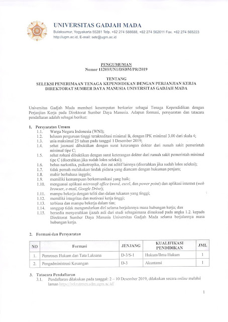 Seleksi Penerimaan Tenaga Kependidikan Dengan Perjanjian Kerja Direktorat SDM UGM