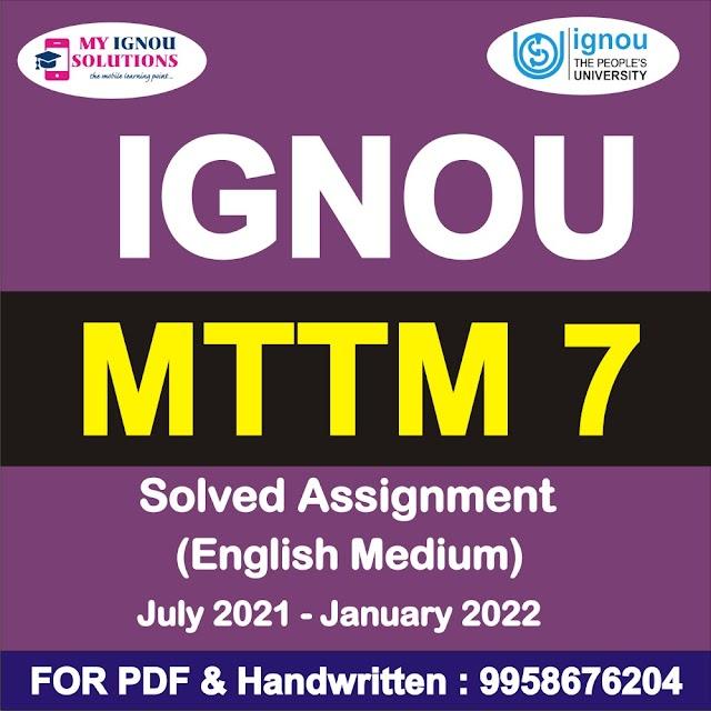 MTTM 7 Solved Assignment 2021-22