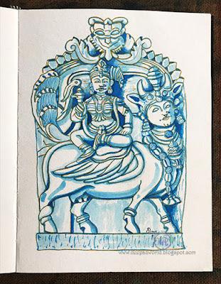 Goddess-Meenakshi-Kamadhenu-Inktober2018-HuesnShades