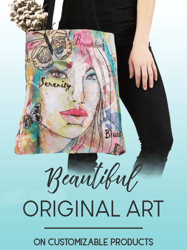 tote bag featuing an image of colorful mixed media art with a beautiful girl and butterflies