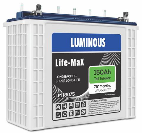 Luminous 150Ah Life Max 18075 75 Months Warranty Inverter Battery