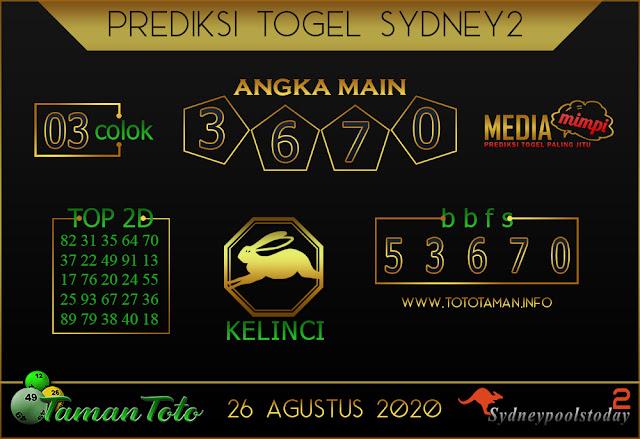 Prediksi Togel SYDNEY 2 TAMAN TOTO 26 AGUSTUS 2020