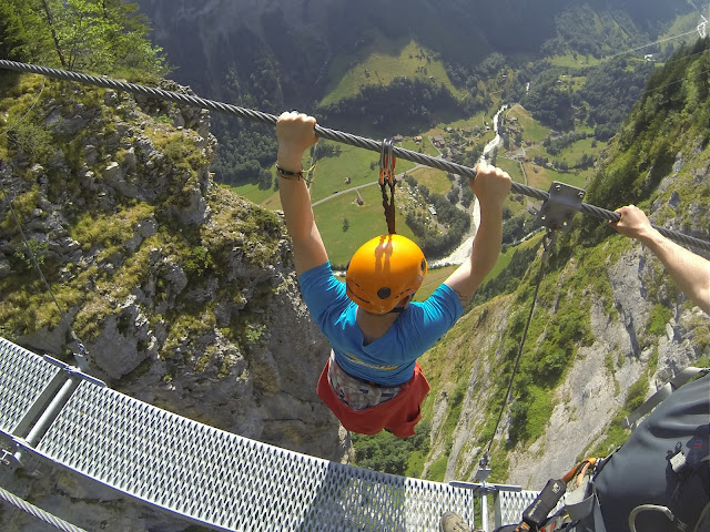 Via Ferrata 2000ft above Lauterbrunnen valley, Swiss Alps!